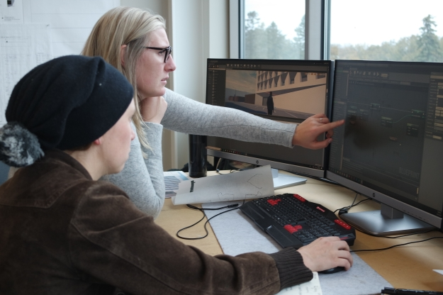 Students working with Unreal Engine